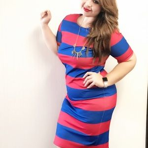 Red and blue dress